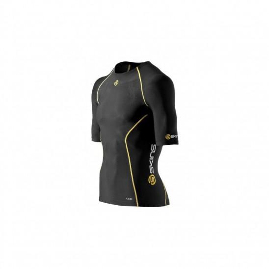 Man compression T-Shirt short sleeve Skins Bio A200 Black - WORKOUT.EU ea91a5e42
