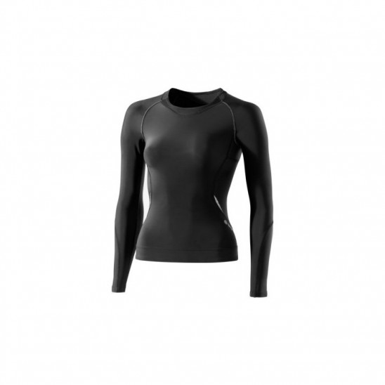 Woman compression T-Shirt long sleeve Skins A400 Black/Silver