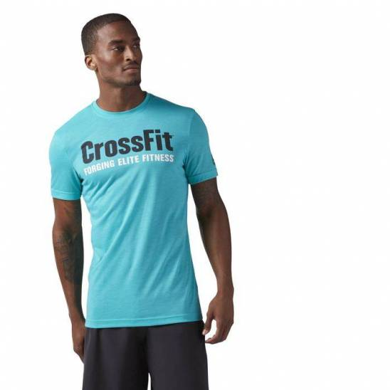 Really Reebok Blue T Shirt Gym Clothing Reebok Crossfit
