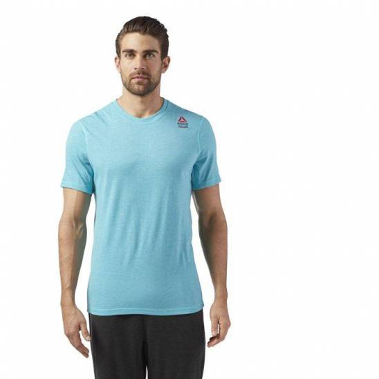 fb0f94911b9 Pánské tričko Reebok CrossFit PERF BLEND - modré - WORKOUT.EU