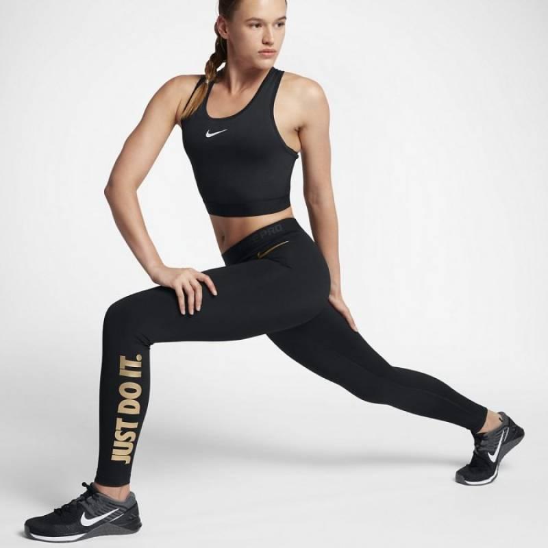 Dámské tréninkové legíny Nike black gold - WORKOUT.EU 5e4d24ea19
