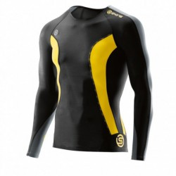Man compression T-Shirt long sleeve Skins DNAmic Black/Citron