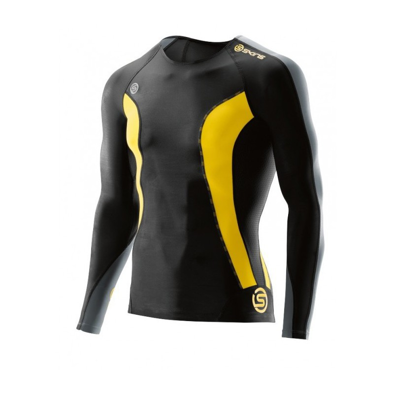 Man compression T-Shirt long sleeve Skins DNAmic Black/Citron