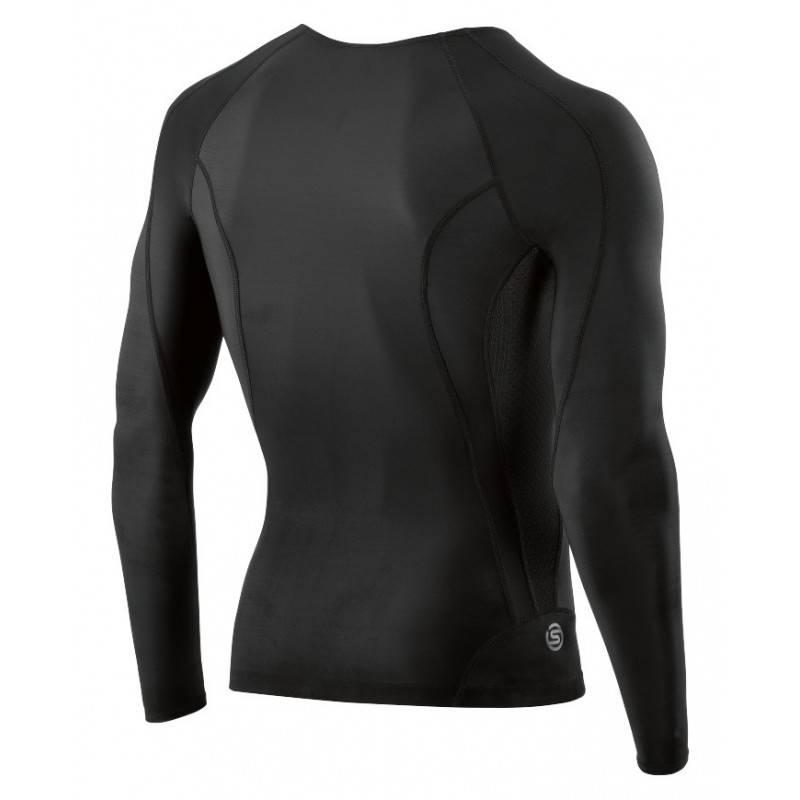 Man compression T-Shirt Skins DNAmic Mens Top Long Sleeve Black/Black