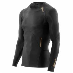Man compression T-Shirt Skins A400 Mens Black Top Long Sleeve