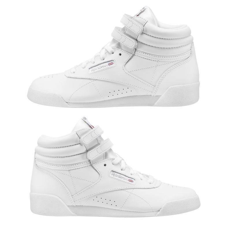 5691222cdbc ... Child racing white Shoes to aerobik Reebok Freestyle HI f s Classic -  CN2553 ...