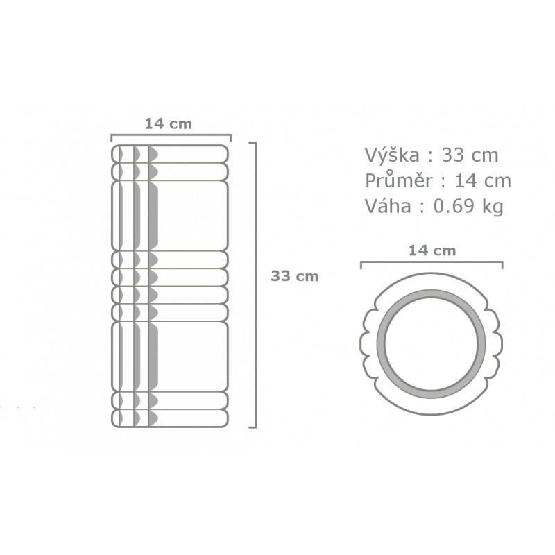 foam roller grid x 33 cm black