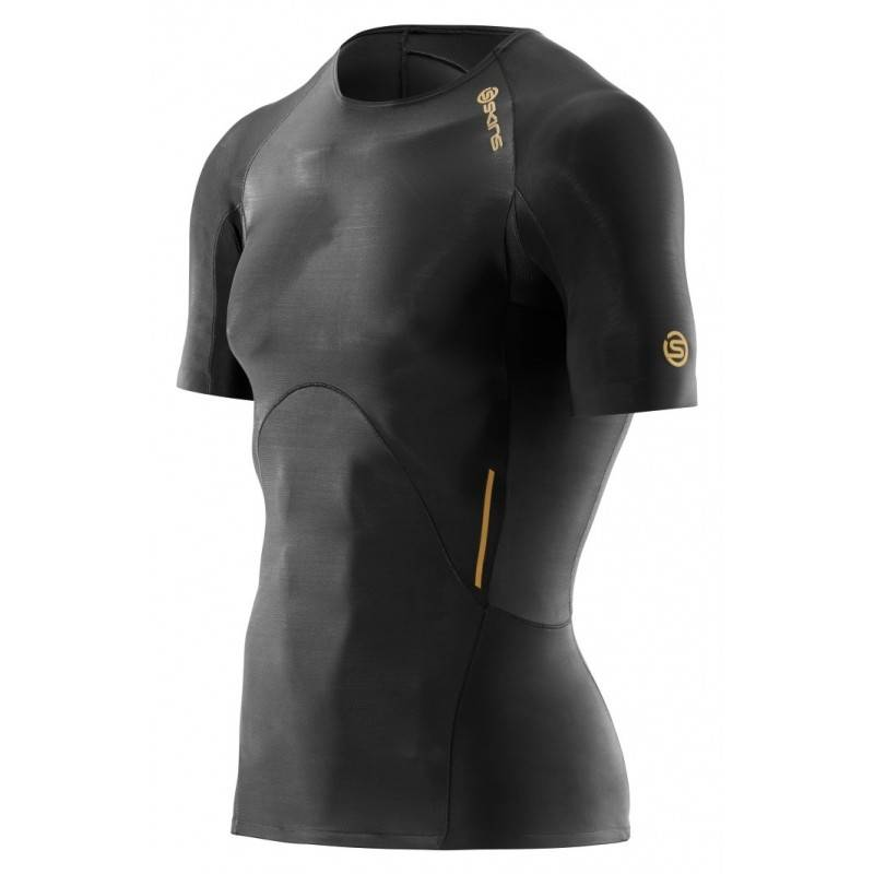 Skins A400 compresion T-shirt Mens Black Top Short Sleeve