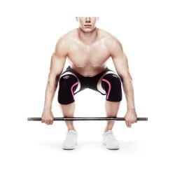 Bandáž kolene RX 7 mm - černá/růžové pruhy