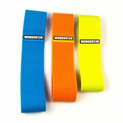 Set of three text resistance bands - blue orange yellow