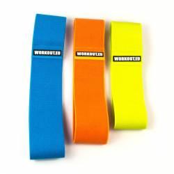 Výhodný set tří textilních odporových gum - modrá oranžová žlutá