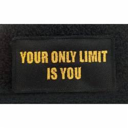 Nášivka slogan Limit - 95 x 50 mm +suchý zip black/yellow