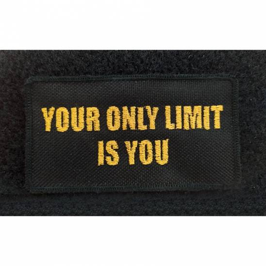 Patch with slogan Limit - 95 x 50 mm with velcro black/yellow  on velcro