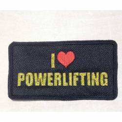 Patch I love Powerlifting GOLD metallic - 95 x 50 mm  on velcro
