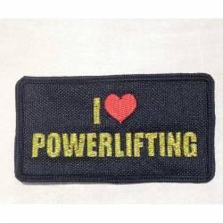 Nášivka I love Powerlifting GOLD metalíza - 95 x 50 mm se suchým zipem
