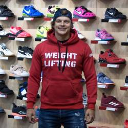Man hoodie Weightlifting eco fleece - red