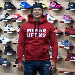 Man hoodie Powerlifting eco fleece - red