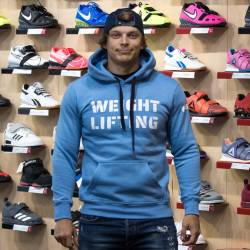 Man hoodie WeightLifting eco fleece - blue