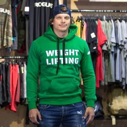 Man hoodie Weightlifting eco fleece - green