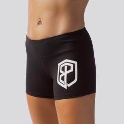 Woman Shorts Renewed Vigor Booty Shorts (Black w/ White Logo)