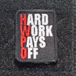 Nášivka Hard work pays off red - malá