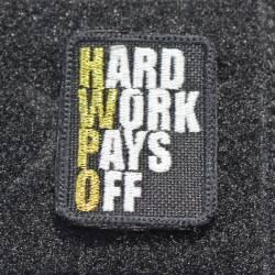 Nášivka Hard work pays off gold metal - malá