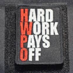 Nášivka Hard work pays off HWPO red - střední