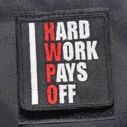 Nášivka Hard work pays off HWPO červená - velká