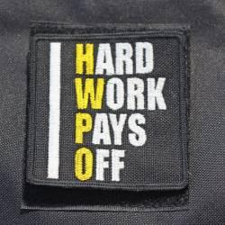 Nášivka Hard work pays off HWPO žlutá - velká