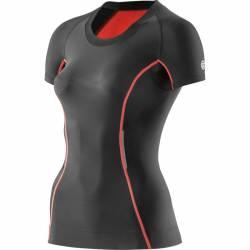 Dámské kompresní tričko krátký rukáv Skins Bio A200 Black/Vermilion