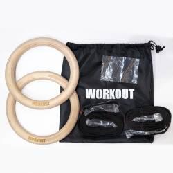 Gymnastické kruhy WORKOUT dřevěné 28 mm
