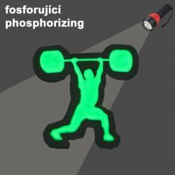 Nášivka se suchým zipem WORKOUT - fosforující weightlifter 5 x 5 cm